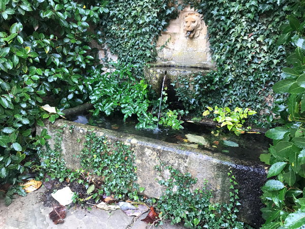 lovely stone trough fed with water from a wall spout