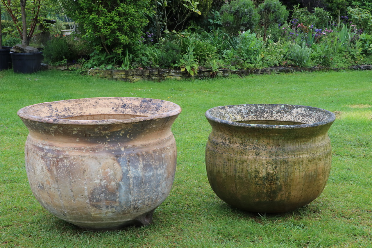 Two antique stone wash pots