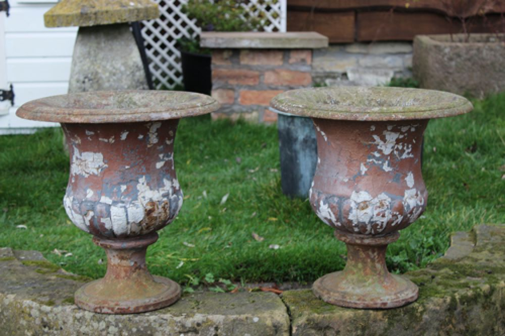 Pair 19th Century Cast Iron Urns on Stone Bases (Stk no.3345)