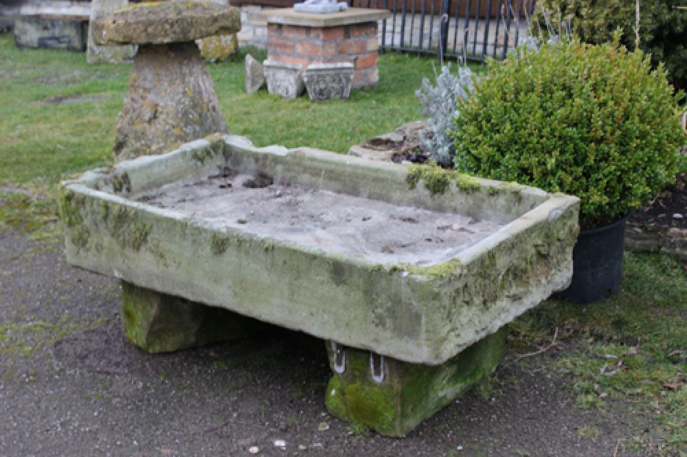 Stone Sink Garden : Large Stone Sink on Stone Bases (Stk No.3163) - Js Garden Antiques