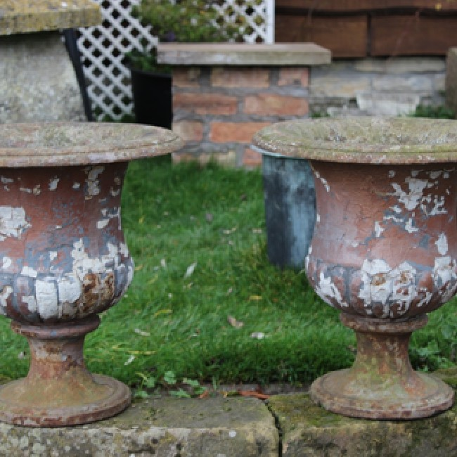 Pair 19th Century Cast Iron Urns on Stone Bases (Stk no.3345) - Photo 1