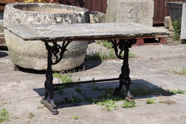 Iron Based York Stone Table (Stk No.3872)