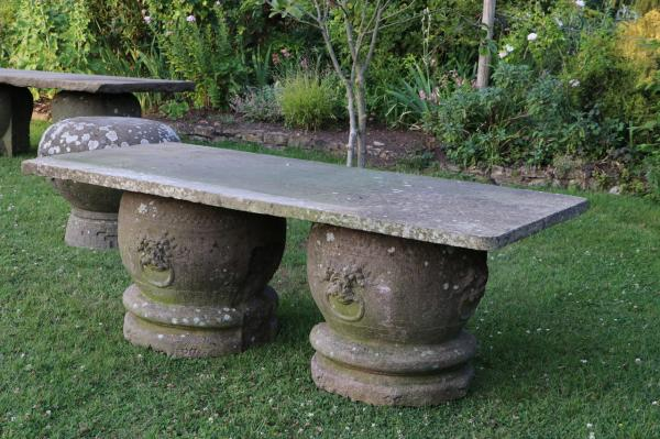 Large Stone Patio Table with Rounded Stone Bases (Stk.No.3877)
