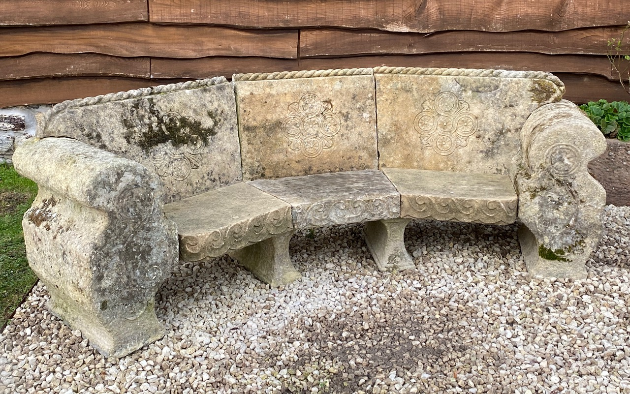 Large curved English limestone seat