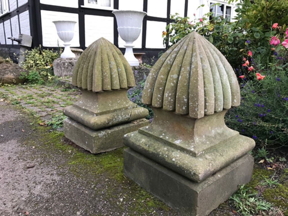 Pair Handsome Carved Stone Finials (Stk No. 3561)