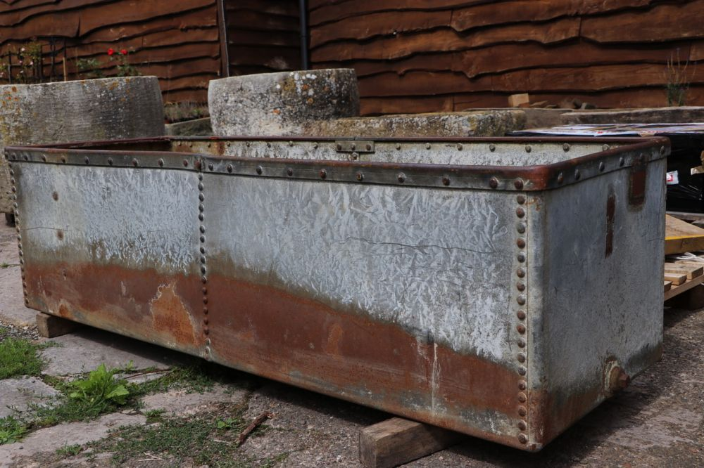 Wide Riveted Galvanised Trough (Stk No.3784)
