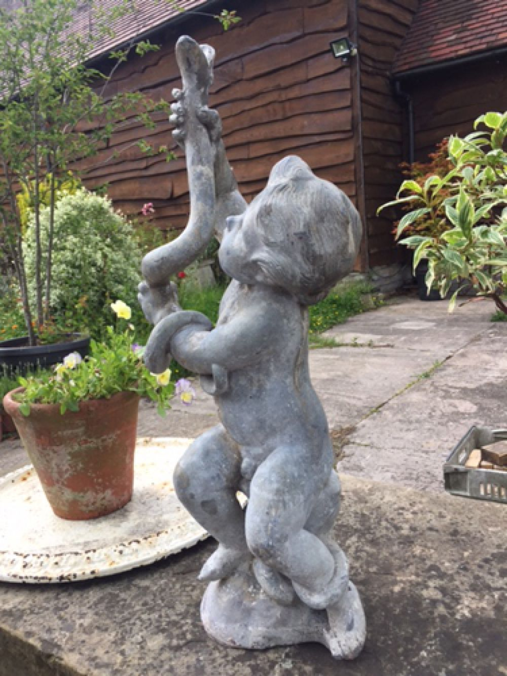 20th Century Lead Fountain - Baby Hercules with a snake (Stk No.3528)