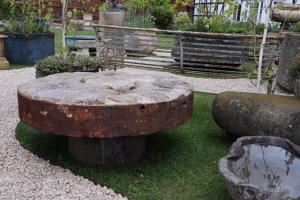 Large Segmented Millstone Patio Table (Stk No.3798)