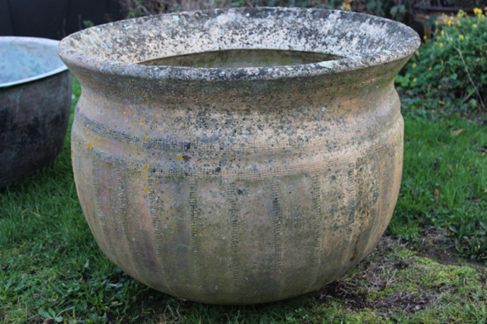 RESERVED Large 19th Century Stoneware Washpot (Stk No.3699)