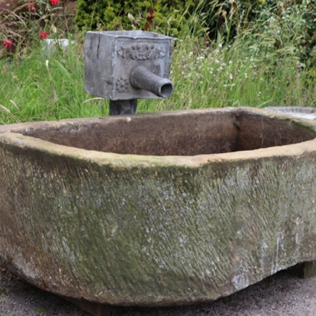 Large D Shaped Yorkshire Stone Trough (Stk No.3754)