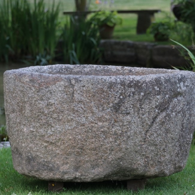 X Large Round Granite Boulder Trough (Stk No.3757) - Photo 1