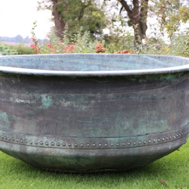 ===== SOLD ====X Large Riveted Copper Cheese Vat (Stk No. 3800)