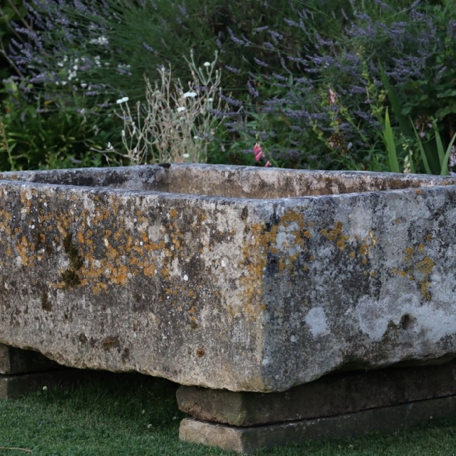Large Deep Limestone Trough on Stone Bases (Stk No.3769)