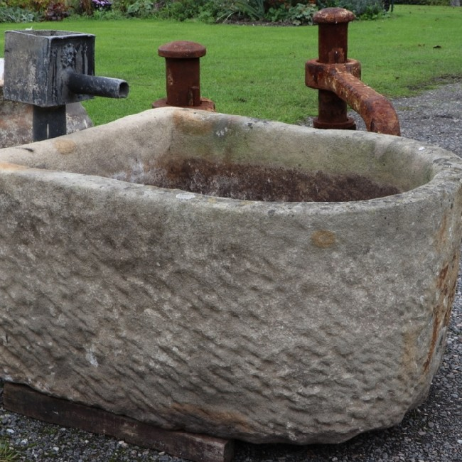 Large D shaped Stone Trough - English Sandstone (Stk No.3802) - Photo 2