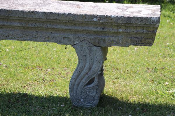 Decorative Solid Stone Seat with Curved Fitted Supports (Stk No.3874) - Photo 4