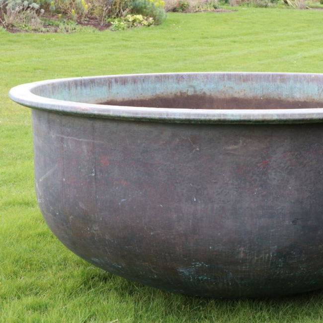 X Large Smooth and Wide Copper Cheese Vat (Stk No. 3819)