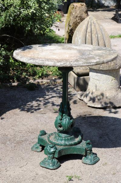 SOLD 19th Century Single Pedestal Iron Marble Topped Table (Stk no.3867)