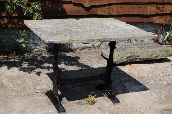 York Stone Table - Lovely Squarish Top on Iron Base (Stk No.3871)