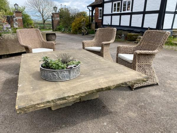 Large York Stone Table with Stone Central Pedestal (Stk No.3881)