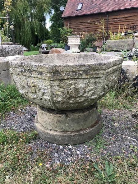 SOLD Bath Stone Carved Octagonal Bowl on Base (Stk No.3884)