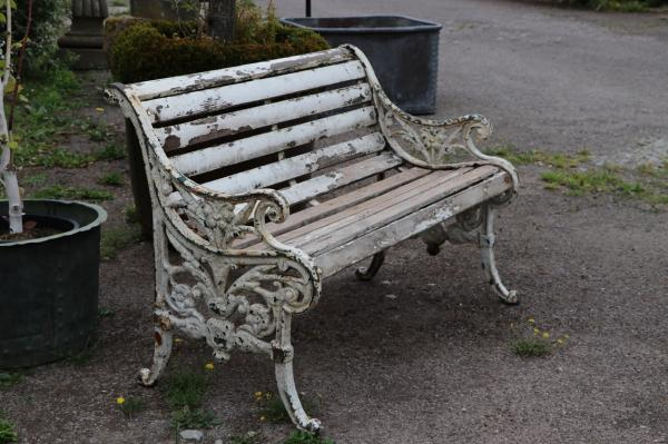 SOLD. Wooden Slatted Two Seater Seat (Stk No.3895)